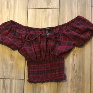 Checkered red and black slimming crop top